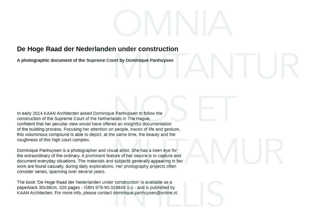 Dominique Panhuysen, De Hoge Raad der Nederlanden under construction,                               ,